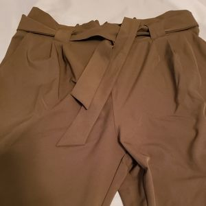 Olive green tie front pants